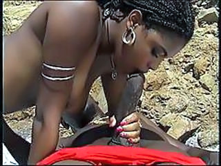 Babe Beach Big cock Blowjob Ebony Outdoor
