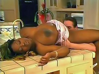 Big Tits Ebony Interracial Kitchen Licking MILF Natural Pornstar