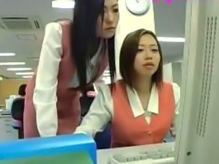 Asian Cute Japanese Lesbian Office Secretary Uniform