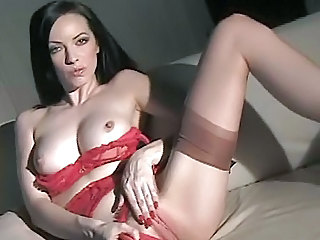 Amazing Brunette Cute Lingerie Masturbating MILF Solo Stockings