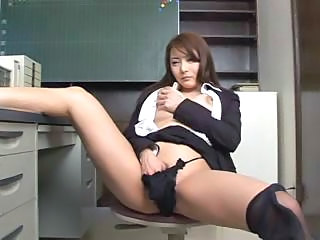 Asian Babe Japanese Masturbating Office Panty