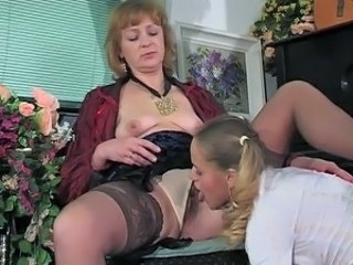 Lesbian Licking Old and Young Panty Pigtail Stockings