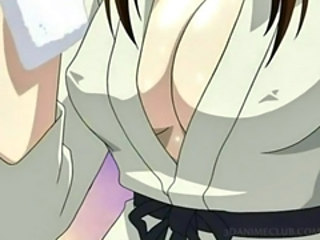 Anime sex slave in ropes submitted to hardcore sexual teasing in group