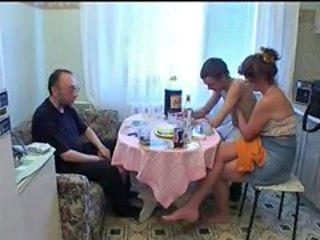 Kitchen Old and Young Russian Threesome
