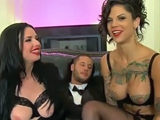 Lingerie MILF Tattoo Threesome