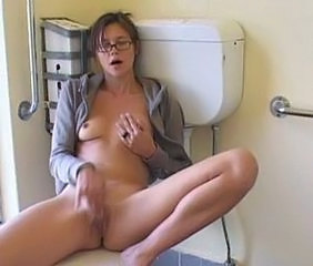Cute Glasses Masturbating Solo Teen Toilet