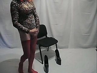 Extreme heels and red stockings
