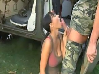 Army Big Tits Blowjob Outdoor Uniform