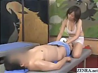 Japan masseuse mounts client for sexual oil massage