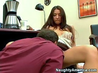 Babe Brunette Clothed Licking Office Secretary