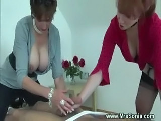 Two dominas dominate one slave free