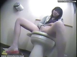 Asian  Japanese Masturbating Teen Toilet Voyeur