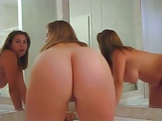 Sexy BBW poses in the bathroom mirror tubes