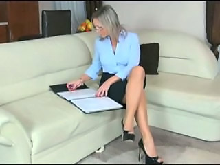 Bus Glasses Legs MILF Secretary