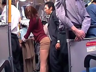 Asian Bus Clothed Japanese MILF Public