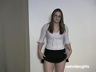 Amateur Casting Glasses Skirt Stripper Teen