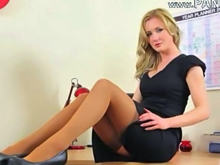 Blonde Office Secretary Solo Stockings Stripper Teen