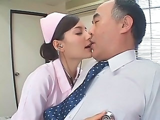 Asian Cute Daddy Japanese Kissing Nurse Old and Young Teen Uniform