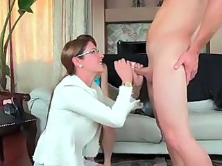 Glasses Handjob MILF Mom