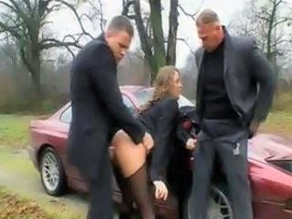 Car Clothed Outdoor Russian Teen Threesome