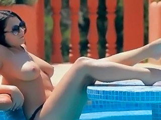 Babe Big Tits Legs Natural Outdoor Pool Teen