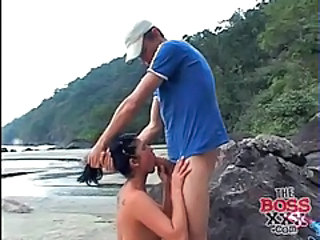 Beach Big cock Blowjob Outdoor Teen