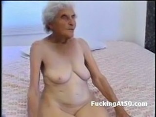 Really old wrinkled granny sucks dick and gets pounded by deviant freak She sits on the bed naked and looks like a white raisin Then she spread her le