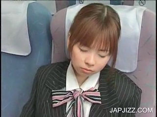 Jizz shots on Jap stewardess