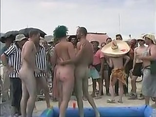 Amateur Nudist Outdoor Party Public Sport