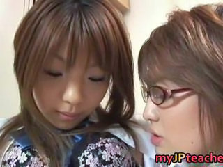 Asian Cute Glasses Japanese Lesbian MILF Teacher Teen