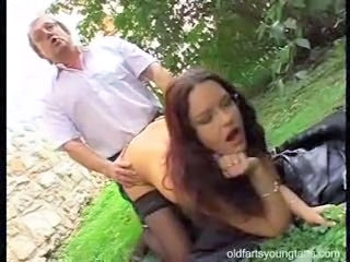 Daddy Doggystyle Old and Young Outdoor Public Teen