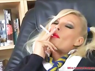 Smoking schoolgirl slut left with cum on her pantyhose