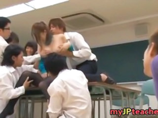 Asian Gangbang Japanese MILF Pantyhose School Teacher