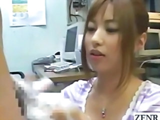 Subtitled weird cfnm japanese penis washing in a officeВ