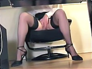 Legs Masturbating Office Secretary Stockings