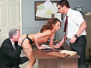 Doggystyle Licking Old and Young Stockings Threesome
