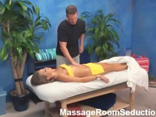 Hot girl seduced in massage room
