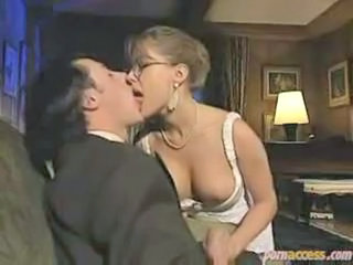 Glasses Handjob Kissing MILF Vintage
