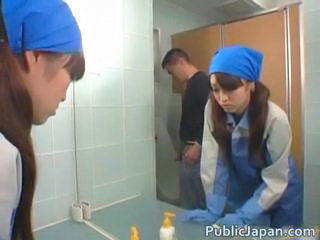 Real asian restroom attendant