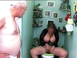 Big Tits French Masturbating Mature Older Toilet Wife