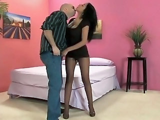 Amazing Ebony Interracial MILF Pantyhose