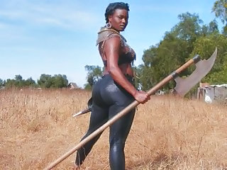 Ebony MILF Outdoor Uniform