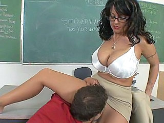Amazing Big Tits Glasses Lingerie Licking MILF Pornstar School Teacher