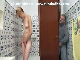 Bathroom Daddy Daughter European Italian Old and Young Skinny Small Tits Teen Voyeur