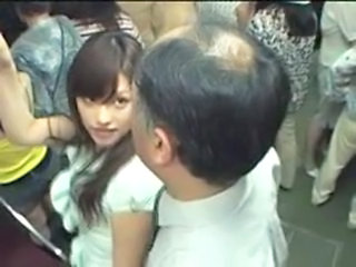 Asian Daddy Old and Young Public Teen Train