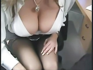Amazing Big Tits Natural Secretary Stockings