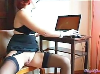 Masturbating Pussy Secretary Solo Stockings