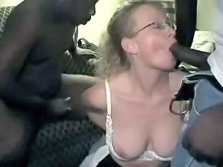 Amateur Big cock Blowjob Glasses Interracial MILF Threesome Wife