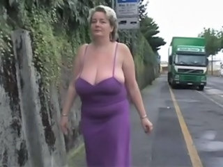 BBW Big Tits Mature Mom Natural Outdoor Public