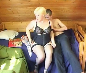 Amateur Blonde Homemade Lingerie Mature Mom Old and Young Russian Stockings